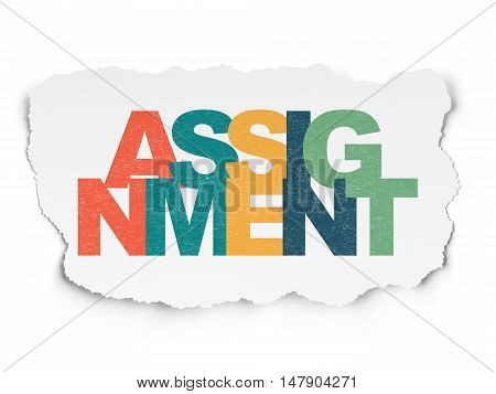 Law concept: Painted multicolor text Assignment on Torn Paper background