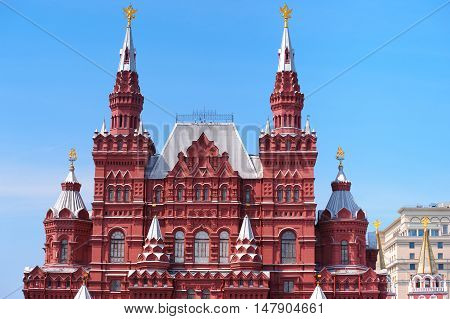 Architectural details of Moscow State Historical Museum on Red Square