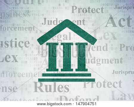 Law concept: Painted green Courthouse icon on Digital Data Paper background with  Tag Cloud