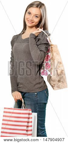 Smiling Young Woman with Shopping Bags - Isolated