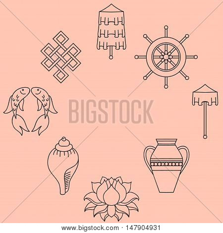 Buddhist symbolism The 8 Auspicious Symbols of Buddhism Right-coiled White Conch Precious Umbrella Victory Banner Golden Fish Dharma Wheel Auspicious Drawing Lotus Flower Vase of Treasure. Icon set