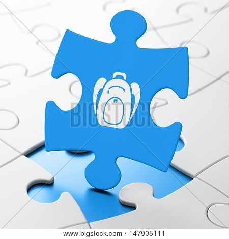 Tourism concept: Backpack on Blue puzzle pieces background, 3D rendering