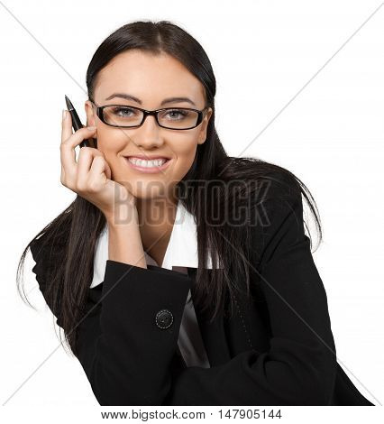 Friendly Businesswoman with Head Resting on Hand - Isolated
