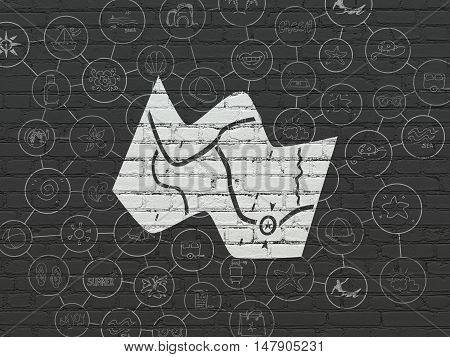 Vacation concept: Painted white Map icon on Black Brick wall background with Scheme Of Hand Drawn Vacation Icons
