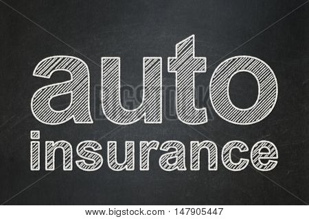 Insurance concept: text Auto Insurance on Black chalkboard background