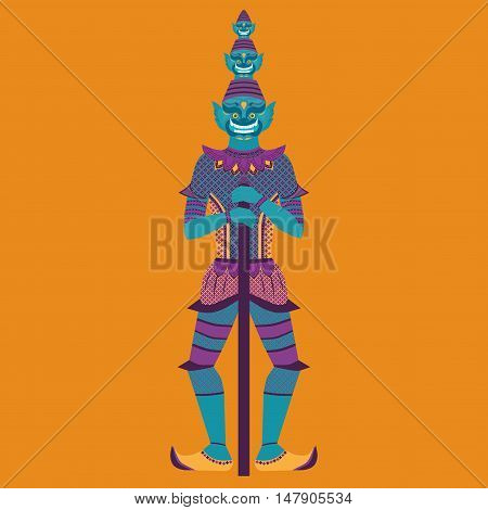 Thai Temple Guardian Giant Thailand Yaksha demon statue Buddhism symbol in Bangkok Asian spirit