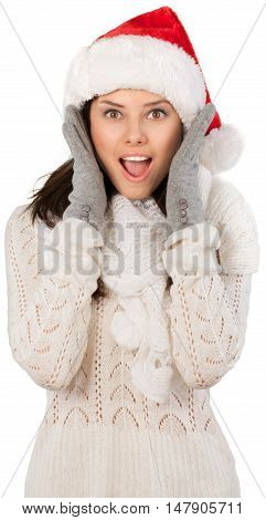 Young Woman In Santa Hat - Isolated
