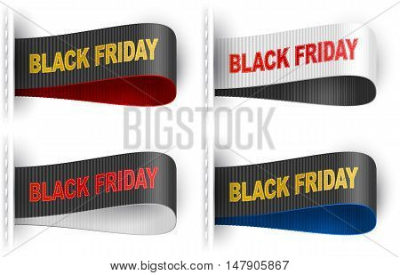 Clothes labels tags with marketing phrase Black Friday for garments sales promotion and merchant service; Vector set Eps10