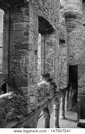 A view of the rear side of the façade wall within Crichton castle