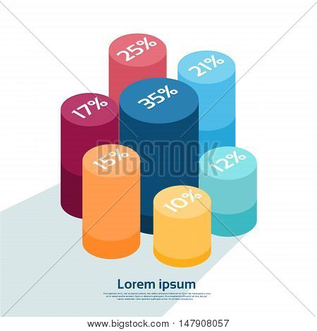 Cylinder Chart Diagram With Percentage Financial Graph 3d Isometric Design Vector Illustration