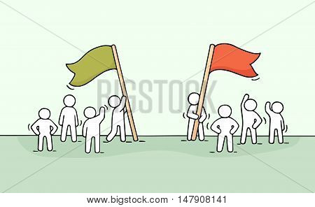 Sketch of competition with working little people. Doodle cute miniature scene of two teams with flags. Hand drawn cartoon vector illustration for business design and infographic.
