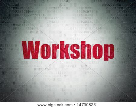 Studying concept: Painted red word Workshop on Digital Data Paper background