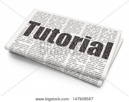 Learning concept: Pixelated black text Tutorial on Newspaper background, 3D rendering