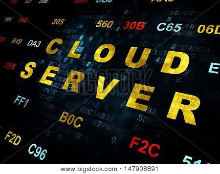 Cloud computing concept: Pixelated yellow text Cloud Server on Digital wall background with Hexadecimal Code