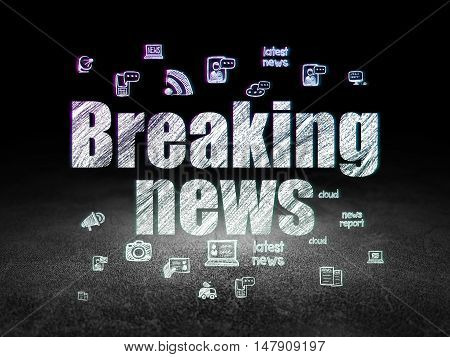 News concept: Glowing text Breaking News,  Hand Drawn News Icons in grunge dark room with Dirty Floor, black background