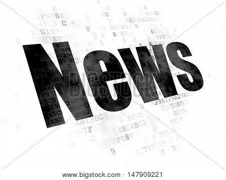 News concept: Pixelated black text News on Digital background
