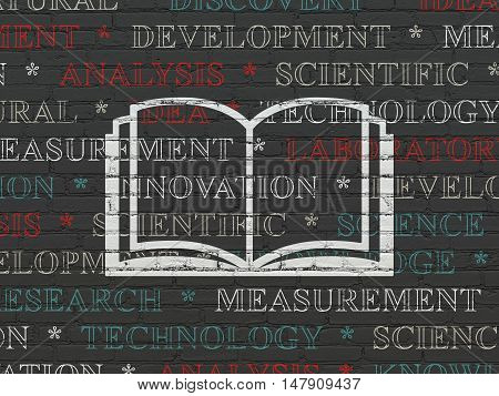 Science concept: Painted white Book icon on Black Brick wall background with  Tag Cloud
