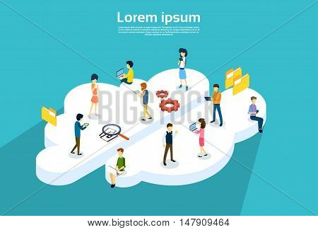 People Group Using Internet Gadgets Online Cloud Service Synchronization Technology 3d Isometric Vector Illustration