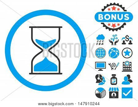 Hourglass icon with bonus images. Glyph illustration style is flat iconic bicolor symbols, blue and gray colors, white background.