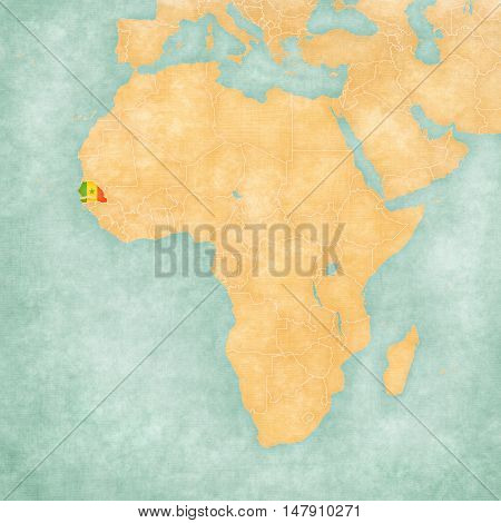 Senegal (Senegalese flag) on the map of Africa. The map is in soft grunge and vintage style like watercolor painting on old paper.