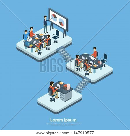 Business Modern Office Interior, Company Structure Floor Businesspeople Group People Team Workplace 3d Isometric Vector Illustration