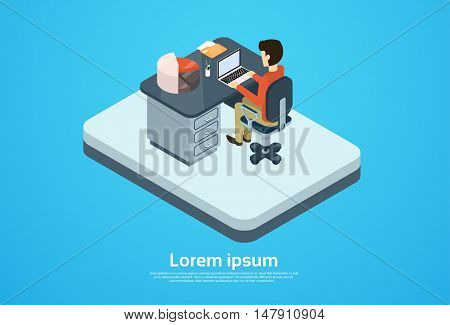 Business Man Work Computer Laptop Workspace Copy Space 3d Isometric Vector Illustration