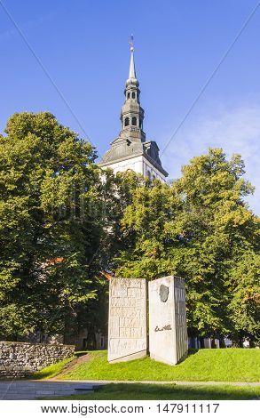 TALLINN ESTONIA - SEPTEMBER 09 2016: Open book monument for an Estonian writer Eduard Vilde in Tallinn Estonia on September 09 2016