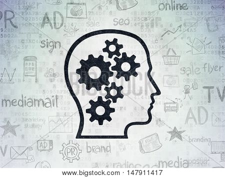 Advertising concept: Painted black Head With Gears icon on Digital Data Paper background with  Hand Drawn Marketing Icons