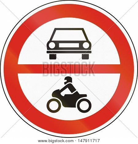 Road Sign Used In Hungary - No Motor-driven Vehicles