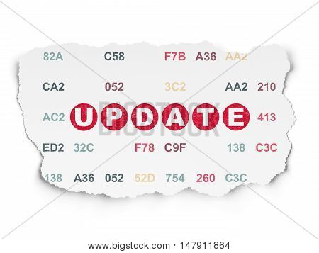 Web development concept: Painted red text Update on Torn Paper background with  Hexadecimal Code