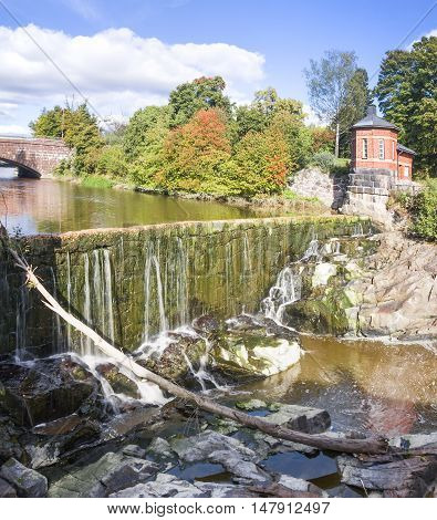 Vanhankaupunginkoski - waterfall on Vantaanjoki River in Old Town Helsinki Finland