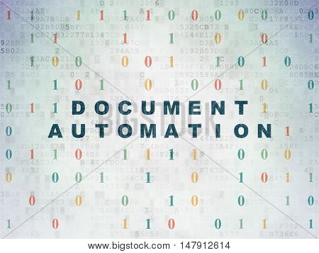 Business concept: Painted blue text Document Automation on Digital Data Paper background with Binary Code