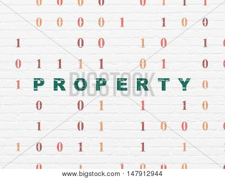 Finance concept: Painted green text Property on White Brick wall background with Binary Code