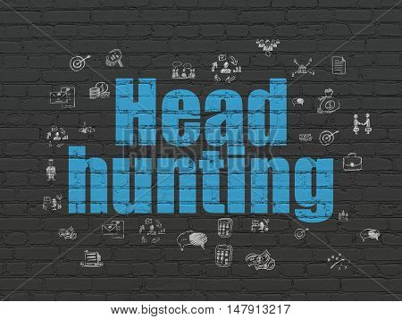 Business concept: Painted blue text Head Hunting on Black Brick wall background with  Hand Drawn Business Icons