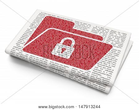 Finance concept: Pixelated red Folder With Lock icon on Newspaper background, 3D rendering