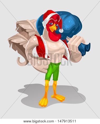 Vector color illustration of a rooster standing in attire of Santa Claus. Cock symbol 2017 year poster