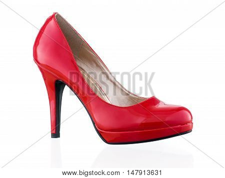Hot red single stiletto isolated on white background