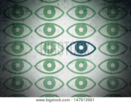 Privacy concept: rows of Painted green eye icons around blue eye icon on Digital Data Paper background