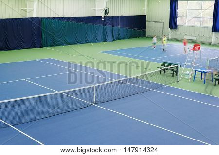 Interior of a sport hall with tennis court