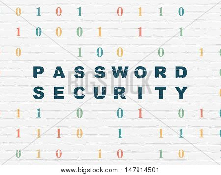 Safety concept: Painted blue text Password Security on White Brick wall background with Binary Code