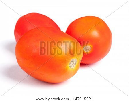 Few tomatoes isolated on white background
