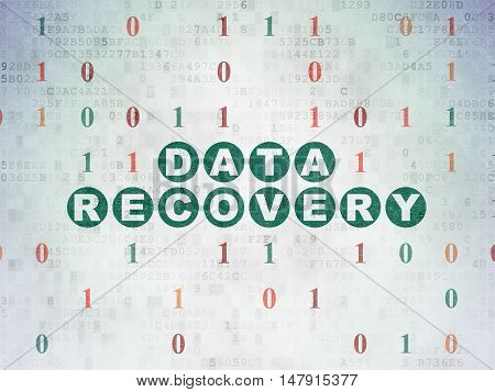 Information concept: Painted green text Data Recovery on Digital Data Paper background with Binary Code