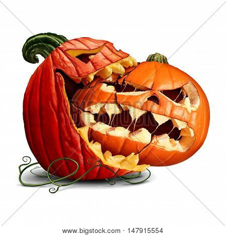 Pumpkin eating icon as a dominant halloween squash taking a bite out of another orange evil jack-o-lantern with 3D illustration elements.