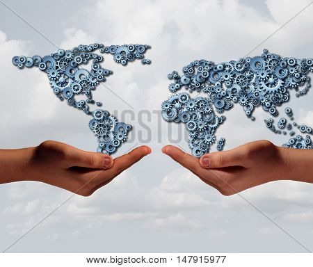 Global industry trade and international business agreement concept as two diverse hands holding a group of gears shaped as the world with 3D illustration elements.