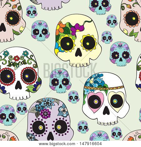 Seamless pattern with mexican skulls for Day of the Dead (Dia de los Muertos) celebration vector illustration