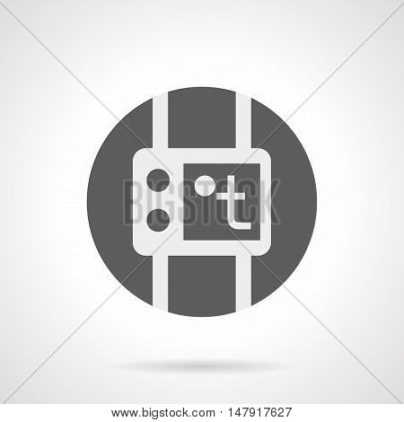 Abstract white silhouette sign of thermostat. Temperature control and regulation equipment for heating system. Heated floor theme. Gray round flat style vector icon.