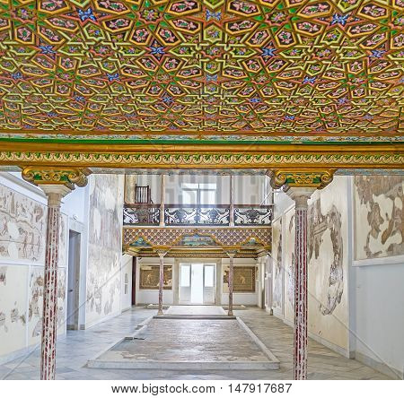 TUNIS TUNISIA - SEPTEMBER 2 2015: The colorful decor of the ceiling in Althiburos Room of Bardo National Museum on September 2 in Tunis.