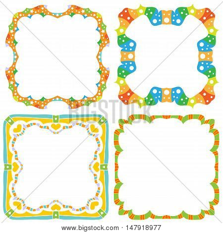 Colorful frame collection with stars and dots isolated over white background