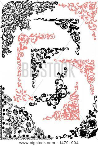 illustration with pink and black corners isolated on white background