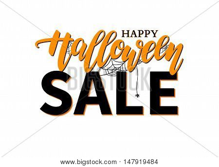 Halloween Sale vector banner with lettering, spider and web. Great for banner, voucher, offer, coupon, holiday sale, business promote